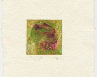 Monotype collagraph Tiny 2015 series #15 lemon yellow green cobalt violet Khadi paper handmade paper affordable original abstract art