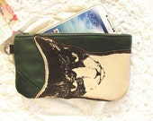 Mean Cat Phone Case Pencil Case Forest Green Leather