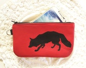 Fox phone pouch Red Recycled Leather