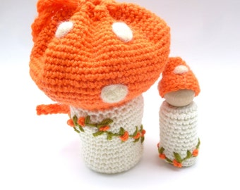 Toadstool pouch with peg doll gnome ready to ship