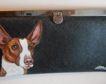 Ibizan Hound Dog Hand Painted Leather Clutch Wallet Vegan