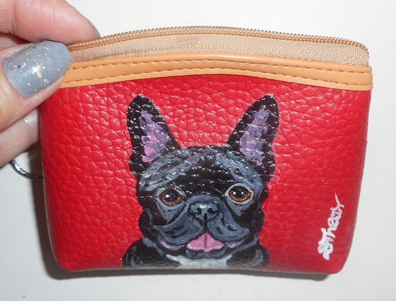 french bulldog purse french bulldog dog hand painted leather coin purse mini wallet 3092