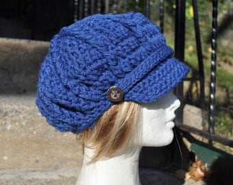 Custom Newsboy Hat with Band and Buttons - Made to Order - Women's Crochet Hat - You Choose Color