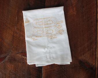 Philadelphia pretzel Philly soft pretzel kitchen towel dish towel tea towel floursack towel housewarming gift hostess gift Philly souvenir