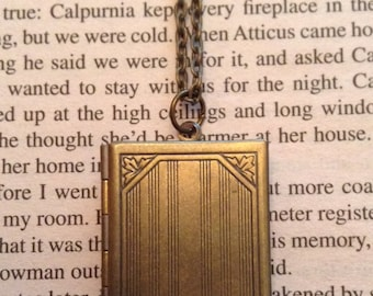 Book Locket Necklace / Book Lover Gift / Book Necklace / Locket / Photo Locket / Gift For Her / Bookish Gift / Bookworm / Reader Gift