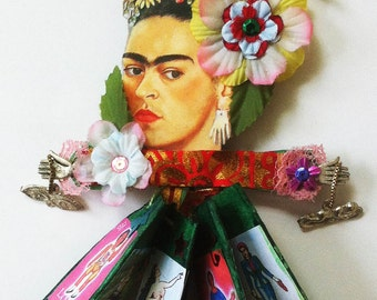 Diva, doll/book representing Frida Kahlo, loteria cards as pages, doll, unique book, Frida Kahlo,wall hung doll, table top doll on hanger