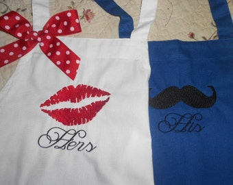 Couples Apron His and Hers Apron Wedding Gift Anniversy Gift red lips and mustache Birthday gift  Couples Gift Shower gift
