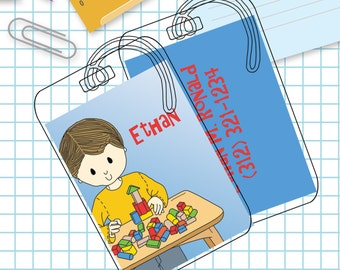 Boy and Blocks Luggage or Backpack Tag- Custom