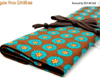 Sale 25% OFF Large Knitting Needle Case Organizer - On the Bandwagon - 30 brown pockets for circular, straight, dpn, or paint brushes