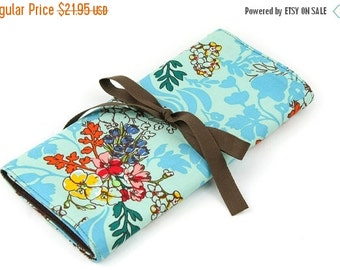 Sale 25% OFF Short Knitting Needle Case Organizer - Tangle Aqua - 24 brown pockets for circular, double pointed, interchangeable or travel