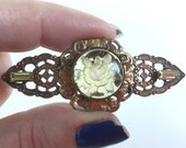 Vintage Yellow Rose Brooch Bar Pin - Reverse Carved Intaglio Glass and Yellow Baguette Stones - Antique Gold Ornate Floral Scalloped Setting