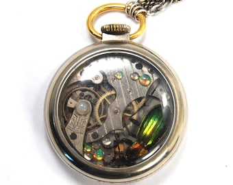 KAFKA CLOCK Steampunk Beetle Necklace with GENUINE Insect Ethiopian Opal and Moonstone Vintage Silver Toned Pocket Watch Case