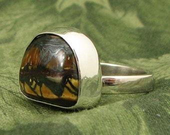 Brecciated Tiger Eye Sterling baroque Ring size 7.25 - OOAK