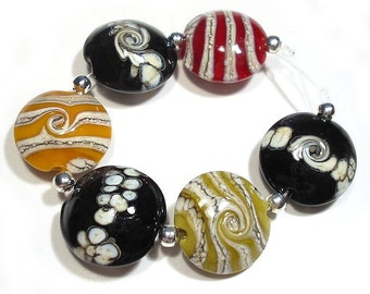 Handmade Glass Lampwork Beads Organic Ivory & Colors Lentils