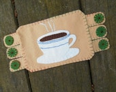 Fiber Art Coffee Cup, Diner Art, Mug Rug, Drink coaster, Handmade Penny Rug, Wool Felt Coaster