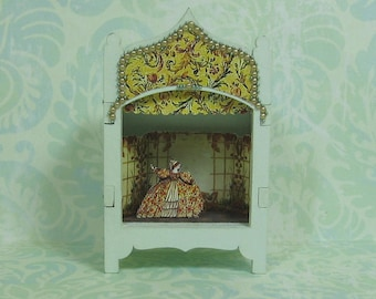 Miniature Toy Theater Vignette in Pale Sage Green with Gowned Lady