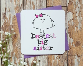 bestest big sister birthday fun girl card uk seller