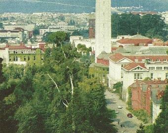 Vintage 1960s Postcard Berkeley University of California Campanile Sather Tower Building Architecture Photochrome Era Postally Unused