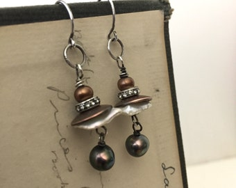 Pearl and mixed metal earrings. Artisan made jewelry.