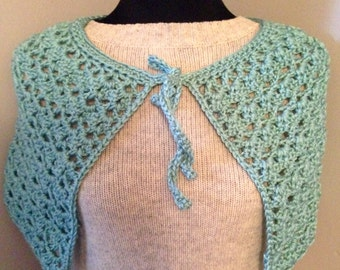 Bohemian Crocheted Capelet Poncho Shawl with Reclaimed Wood Button