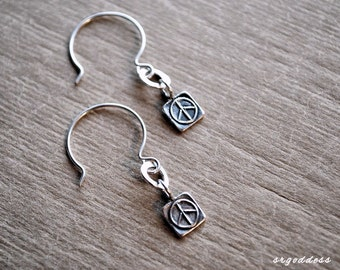 PEACE SIGN all sterling silver hammered ring open hoop earrings by srgoddess
