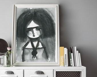 Frida in despair - Art print on paper with the original watercolor art of Danita.
