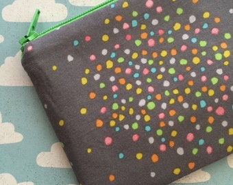 Gray zipper pouch - polka dots - colorful - change purse - coin purse - gray pouch - gray bag - with