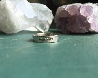 Feather Band Ring | Sterling Silver | Hammered Band Ring | Feather Ring | Stacking Ring
