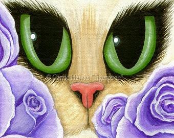 Cat Art Roses Lavender Green Eyes Big Eye Art Fantasy Cat Art ACEO / ATC Mini Print Cat Lover Gift