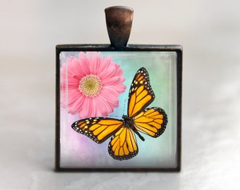 Spring Monarch Butterfly -  Square Pendant Necklace or Key Chain - Choice of 4 Colors