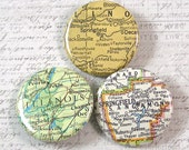Springfield Illinois Map Pinback Button Set