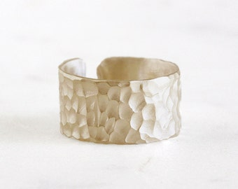 14k gold carved cuff ring, armor ring, eco friendly, sterling silver cuff, sterling silver