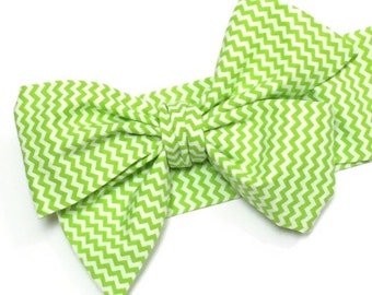 Headwrap, Girls Headwrap, Baby Headwrap, HeadWrap, Girls Headband, Big Bow Headwrap, Lime green, small chevron print - LIME MINI CHEVRON