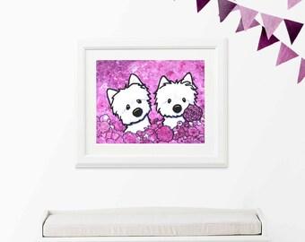 ORIGINAL Art Painting KiniArt WESTIE Dogs FLOWERS