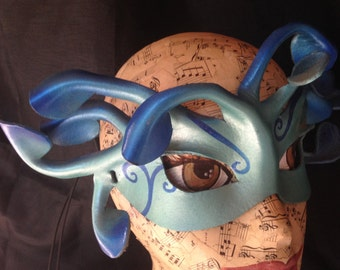 AIR ELEMENTAL MASK, elemental leather mask in turquoise and sapphire blues, ready to ship
