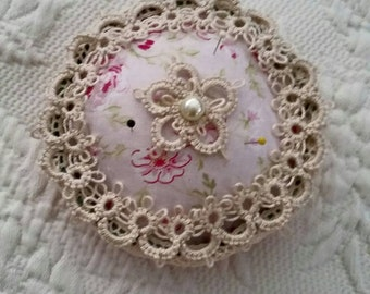 Sweet Tatted And Vintage Lace Pinkeep Pin Cushion