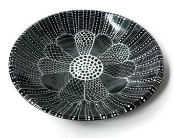 Large Black and White Serving Bowl with Doodle Design