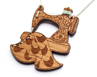 Sewing Machine Necklace- Wood laser cut illustration embroidered hand painted - cherry wood
