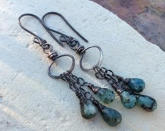 PERUVIAN OPAL earrings, Blue Opal mini chandelier earrings, sterling silver