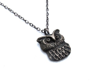 Owl Pendant - Hand Cast in Sterling Silver