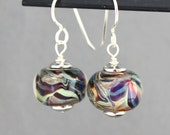 Swirl Glass Lampwork Earrings, Glass Bead Earrings, Dangle Earrings