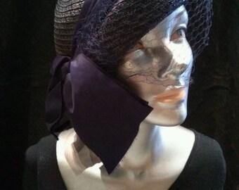 Vintage 1940s Straw Hat 40s Tilt Cloche Bumper Navy Blue 20160910J242
