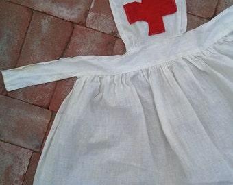 Vintage 1940s Childs Apron Red Cross Nurses Dress Up Project Smock Childs 3T 2016248