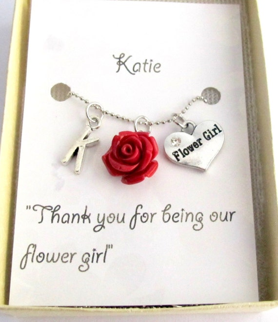 Wedding Gift Delivery Usa : Personalized Flower Girl Necklace Wedding Gifts Personalized Flower ...