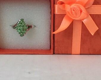 Tsavorite Green Garnet Sterling Silver Ring  Size 8
