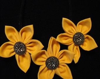 Golden Yellow Fabric Flower Statement Necklace