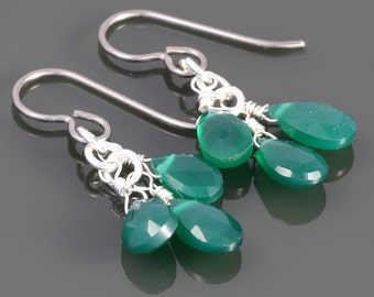 Green Onyx Cluster Earrings. Three Stones. Titanium Ear Wires. Genuine Gemstone. Lightweight Earrings. f16e022