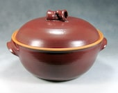 Red Large Ceramic Casserole Dish With Lid Wheel Thrown Stoneware Pottery 2