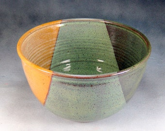 14 cup Extra Large Yellow Green and Brown Ceramic Serving Bowl Wheel Thrown Pottery Bowl 3