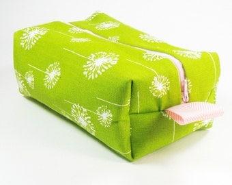 Travel Makeup Bag - Lime Green Dandelion